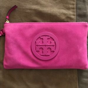 Tory Burch Charlie Pink Suede Leather Clutch